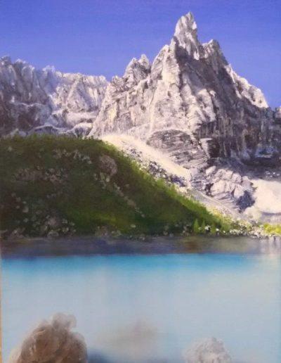 Maria Rosa Brigo, Paesaggio di montagna, olio su tela, 2020